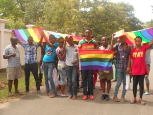 LGBTIQ Tanzanians demonstrating to support LGBTIQ Ugandans